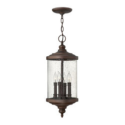 Hinkley Lighting - 1752VZ Barrington Outdoor Hanging Lantern, Victorian Bronze, Clear Seedy Glass - Traditional Outdoor Hanging Lantern in Victorian Bronze with Clear Seedy glass from the Barrington Collection by Hinkley Lighting.