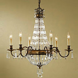 Antique Top Crystal and Iron Art Pendant Lighting in Baking Finish -