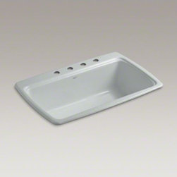 """KOHLER - KOHLER Cape Dory(R) 33"""" x 22"""" x 9-5/8"""" top-mount single-bowl kitchen sink with 4 - The Cape Dory sink is a kitchen classic, with its generous single bowl that simplifies the task of washing large pots and pans. Crafted from enameled cast iron, this sink resists chipping, cracking, or burning for years of beauty and reliable performance."""