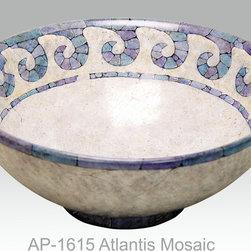 """Hand Painted Vessels Sinks by Atlantis - """"ATLANTIS MOSAICS"""" Shown on AP-1615 La Fayette vessel sink O/D 15-3/4"""" Dia x 6"""" H center drain no overflow."""