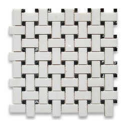 "Stone Center Corp - Thassos White Marble Basketweave Mosaic Tile Black Dots 1x2 Polished - Thassos white marble 1"" x 2"" rectangle pieces and Nero Marquina 3/8"" dots mounted on 12"" x 12"" sturdy mesh tile sheet"