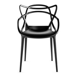 Kartell - Masters Chair - Philippe Starck and Eugeni Quitllet pay homage to three different midcentury modern masters in one sleek, versatile indoor-outdoor seat. The Masters Chair (2010) weaves together the back silhouettes of Jacobsen's Series 7™ Chair, the Eameses' Molded Plastic Chair and Saarinen's Tulip™ Armchair to create something entirely new. Lightweight and durable, the Masters Chair has a wide, roomy seat, while the back rest allows you to feel supported on a historic level as it echoes the lines of the very first ergonomic innovators. The iconoclastic Starck has been working with Kartell since the 1980s, mixing the company's desire to develop eco-friendly, contemporary plastic furniture with the designer's unmistakably edgy and innovative style. Stackable up to four high. Made in Italy.