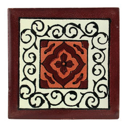 Mexican Artisans - Maroon Floral Talavera Tiles, Box of 15 - Unique patterns and resplendent color — that's the reason Talavera tiles have been in style for centuries. This particular design will let you highlight the rich maroon in your kitchen, bathroom or any other area that calls for creative use of tile.