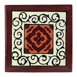 Maroon Floral Talavera Tiles, Box of 15