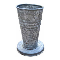 Galvanized Flower Urn - Love this galvanized vintage style piece... Tall yet sturdy with it's round base. A must have for arranging your favorite flowers.