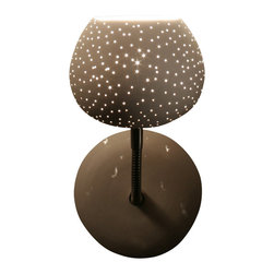 """Lightexture - Claylight Sconce, Dot Pattern - Need a bright idea to light up your room? Clean and modern meets earthy and industrial with this beautiful art installation. The head is made from a white ceramic """"egg"""" that casts warm light on your wall or ceiling. It sits on an adjustable base that lets you aim light anywhere you need it."""