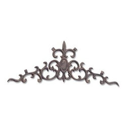 Ladybug - Fleur Center Over Door in Wrought Iron Finish - Weather resistant finish. 1-Year warranty. Made in USA. Made of pecan shell resin. 20.50 in. W x 8 in. D x 8 in. H (3 lbs.)The finishes are applied by hand, enhancing every detail, and resulting in the uniqueness of no two pieces being exactly alike. Each individually hand-crafted piece of Ladybug product is cast in a crushed marble or resin composition which has the ability to capture and reproduce the same definition and minute detail as the original. It is a substantial, non-porous material which does not absorb moisture, making it ideal for outdoor use, although it offers the strength and durability required to endure even extreme weather conditions.