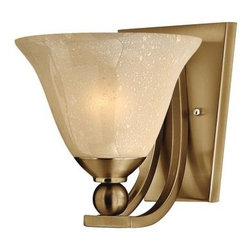 Hinkley Lighting - Sconce Bolla - The graceful lines of Bollas sweeping double arms create a soft elegance while heavy cast spheres perched at the tips add to its innovative style. The strong proportions of the arms offered in either Brushed Nickel Olde Bronze or Brushed Bronze finishes contrast with the subtle bell shaped glass combining both traditional and modern details.