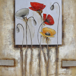 YOSEMITE HOME DECOR - Poppies For You II Art Painted on Canvas - Mixed with light to heavy texture with acrylic paints with added brushed metal and silver overlays.