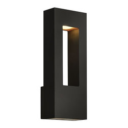 Hinkley Lighting - Hinkley Lighting Atlantis Contemporary Outdoor Wall Sconce - Medium X-DEL-KS8461 - Savor the elegance, sophistication, soothing comfort, luxurious snap, and suave appeal of this contemporary wall pendant. The etched glass lenses provide a clean and bright shine for your living room, bedroom, bathroom, lounge, den, or dining room. The satin black finish is sure to excite and is highly durable. Share the friendly sparkle with friends and family.