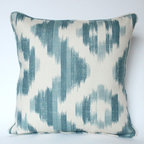 Self-piped Ikat Di Lin PIllow Cover - Suzanne Rheinstein's Ikat De Lin for Lee Jofa fabric is GORGEOUS! I show it here piped in the same fabric. This ikat print is perfect for a pillow. PIllow made by The Pillow Studio.