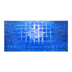 Matthew's Art Gallery - Oil Painting Abstract Heavy Texture Blue Ocean Cage - The Painting:  Ocean Cage