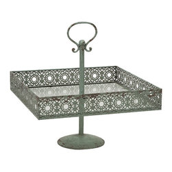IMAX CORPORATION - Mills Metal Square Cake Stand - In a soft shade of green, the Mills metal square cake stand adds a feminine touch to any home. It's lace inspired metal cutwork design enhances any tabletop with petit fours cakes, cupcakes, hors d'oeuvres or plump yeast rolls. Food safe. Find home furnishings, decor, and accessories from Posh Urban Furnishings. Beautiful, stylish furniture and decor that will brighten your home instantly. Shop modern, traditional, vintage, and world designs.