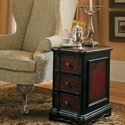 Hooker Furniture - Hooker Furniture Black and Red Accent Chest 500-50-515 - The Three-Drawer Black Red Accent Chest is hand painted and features three drawers. It is finished on all sides.