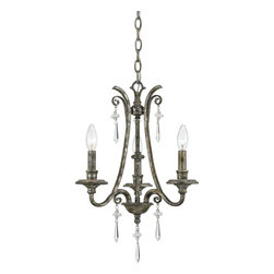 Quoizel - Quoizel QZ-KD5003MM Kendra Traditional Chandelier - A true modern classic, this design is sleek and sinewy yet traditional enough for most homes. It features elongated, ice crystal drops accented with small floral clusters, and oyster mica shades that illuminate your home with natural elegance.