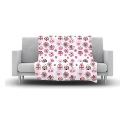 """Kess InHouse - Marianna Tankelevich """"Cute Stuff"""" Pink Illustration Fleece Blanket (30"""" x 40"""") - Now you can be warm AND cool, which isn't possible with a snuggie. This completely custom and one-of-a-kind Kess InHouse Fleece Throw Blanket is the perfect accent to your couch! This fleece will add so much flare draped on your sofa or draped on you. Also this fleece actually loves being washed, as it's machine washable with no image fading."""