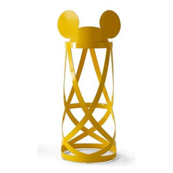 """Cappellini - Mickey's Low Ribbon Limited Edition Kid's Accent Stool - With its circular shape, open design and flowing lines, the Ribbon stool lends itself as the perfect seat. This chair is an iconic representation of the collaboration between Cappellini and Walt Disney Signature. This low stool has a backrest and is produced from laser cut folded up sheet metal. The stool is polished in a red varnish, while the stools feet are made transparent plastic. Bring the magic of Disney into your home! Designed by: Nendo, 2010 Features: -Structure is constructed from a metal plate. -Feet are made of transparent plastic. -399 pieces for the low ribbon stool (shown above) and 199 for the high ribbon stool. Dimensions: -26""""H, 16.5""""W, 17.75""""D."""