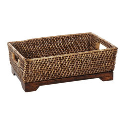 Eco Displayware - Medium Rattan Shelf Basket in Brown - Great for closet, bath, pantry, office or toy and game storage. Earth friendly. 16 in. L x 11 in. W x 6 in. H (3.84 lbs.)These natural colored baskets add warmth and charm and keep you organized.