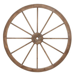 "Benzara - Metal Wagon Wheel with Intricate Detailed Work - Giving your interiors a vintage and period effect, this wood metal wagon wheel offers nothing but the perfect look for your large living area. You can easily hang it above your fireplace to give the area an attractive visual appeal. Made of the finest quality wood and metal, this grand wagon wheel infuses a classic look into your otherwise contemporary decor. Perfect to be used both indoors and outdoors, rest assured that this wheel is going to stay with you with a retained charm and appearance for years to come. Place it in your garden or hang it up in your interiors, this giant wagon wheel is sure to add an earthy feel to your living space.; Offers a period appeal; Robust construction; Made of high quality wood & metal; Weight: 8.82 lbs; Dimensions:45""Dia x 2""D x 45""H"
