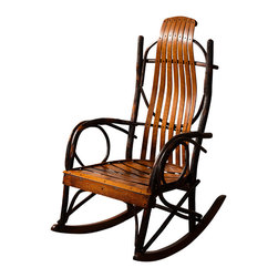 Amish Made Hickory Rocker (Lightly Stained), Without Footrest - Do not be fooled by cheap knock-offs. We offer the best made real branch, Amish Furniture available.