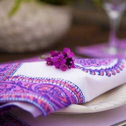 Table Linens Napkins - Amethyst Amore napkin for a fun boho pink and purple paisley print and all the richness of Indian Bohemian culture.Hand Block Printed from Attiser