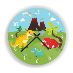 "Nursery Code - Dinosaurs and Volcano Wall Clock for Kids Room, 11"" Diameter - Nursery Wall Clock, Dinosaurs and Volcano- Boys room decor."