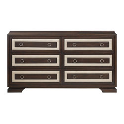 """Hooker Furniture - Hooker Furniture Melange Albion Dresser - Albion's companion cherry wood pieces have cream upholstered insets for dramatic contrast of light and dark soft and solid. Hardwood Solids and Walnut Veneers with Fabric. Dimensions: 70""""W x 19""""D x 39.25""""H."""