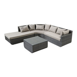 ZUO - Captiva Sectional Set - Beautiful sectionals comprise the Captiva Sofa Set. Featuring water resistant chocolate weave and plush yet sturdy cushions, it's a perfect place to host friends. Even the ones who drip barbecue sauce.