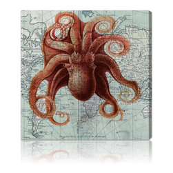 Oliver Gal Artist Co. - 'Octopus' Gallery-wrapped Canvas Art - Artist: Oliver Gal Artist Co. Title: Optopus Product type: Canvas art