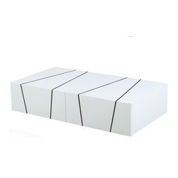 JNM Furniture - H127 Modern Coffee Table in White Lacquer Finish - Crafted from wood veneer & finished in a gorgeous white lacquer, the H127 Modern Coffee Table  is an appealing solution for any living area. This coffee table features 2 deep drawers for adequate storage and low profile legs for a elegant  finish.