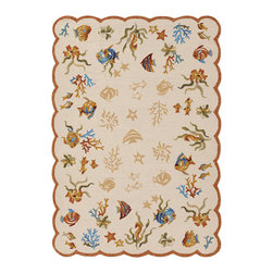 Couristan - Outdoor Escape Coral Dive Rug 2133/1015 - 2' x 4' - Complementing trends in both outdoor furniture and interior whimiscal fashions, the Outdoor Escape Collection is a go-to resource for home decorators with themed decors. Perfect for a multitude of spaces, like covered outdoor patios, decks, sunrooms and kitchens, the beach landscape motifs offered in these novelty area rugs will bring a fun and energentic feeling to any room. Have fun with the colors offered in each design let theme dictate your overall decorating scheme and brighten your setting of choice.