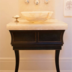 White Onyx Bathroom Vessel Sink - Custom edge profile from 3 layers of White Onyx.