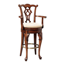 """Powell - Powell Jamestown Landing Swivel Arm Bar Stool - Made of solid birch, this arm bar stool gets its inspiration from queen Anne and Chippendale designs interpreted by American colonial craftsmen. It features cabriole front legs with """"C"""" scroll carving, plain tapered Chippendale rear legs, a carved, pierced tattered shell back splat, carved bow top back rail, cyma curved scroll arms, an upholstered seat, a memory self returning swivel mechanism and antique brass finished foot rail. Finished in a lightly distressed deep cherry. Some assembly required."""