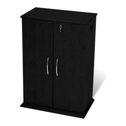 Prepac - Prepac Locking CD DVD Media Storage Cabinet in Black - Prepac - CD & DVD Media Storage - BVS0136 - This Locking Media Storage Cabinet keeps modest-sized collections safe from prying eyes and sticky fingers! Fully adjustable shelves can be set to any position to accommodate your collection. The clean simple lines of this modern cabinet are enhanced by contemporary brushed nickel finished handles.