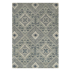 """Loloi Rugs - Loloi Rugs Leyda Collection - Grey / Denim, 5' x 7'-6"""" - Transform your home into a designer haven with the chic Leyda Collection of Ikat patterns. Whether you are looking for an interior that is soft and subtle or bold and dramatic, the Leyda Collection has an option to fit your personal style. Hand-tufted in India of 100-percent wool, these striking rugs come in up-to-date blue, ivory/multi, black/light gold, red/multi, midnight, cream/gray, ivory, light gold and gray/denim. Leyda is the makeover you have been dreaming about."""