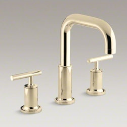 KOHLER - KOHLER Purist(R) deck-mount bath faucet trim for high-flow valve with lever hand - Purist faucets and accessories combine simple, architectural forms with sensual design lines. Featuring this modern, minimalist style, this Purist bath faucet trim includes a spout and ergonomic lever handles that add sophistication to your bath. The two