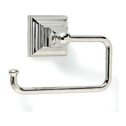 Amerock - Markham Tissue Roll Holder in Polished Nickel Finish - Includes mounting template and mounting hardware. 1 x M5 x 0.8 9 mm Phillips head, 1 x M5 x 0.8 11.5 mm set screw, 1 x M4 x 0.7 10 mm set screw and 1 wall mounting plate. Heavy-gauge stainless steel construction. 1-Year warranty. 5.88 in. L x 4 in. W x 3 in. H (0.75 lbs.)Traditional design aesthetics punctuate the Markham™ collection which provides crisp, linear definition to the bath or powder room. Square footing at the base is inspired by the architectural details of columns, pilasters and stately slim bars. Complements a variety of Amerock® cabinet hardware, suggested coordination to the Amerock® Manor collections.