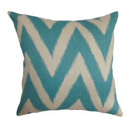 """The Pillow Collection - Bakana Zigzag Pillow Aquamarine 18"""" x 18"""" - A distinctive zigzag pattern in alternating shades of blue and white adorns this appealing accent pillow. Fill your room with this throw pillow with a fun print. Pair it with other patterns from our pillow collection to make your decor style more outstanding and inviting. Toss this decor pillow on top of your couch, sofa, bed or floor. This square pillow is made of 95% soft cotton and 5% linen materials. Hidden zipper closure for easy cover removal.  Knife edge finish on all four sides.  Reversible pillow with the same fabric on the back side.  Spot cleaning suggested."""