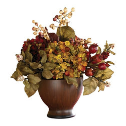 Nearly Natural - Autumn Hydrangea with Round Vase - Not for outdoor use. Filled with hydrangea and berries. Perfect size to fill just about any table or desk. Handsome vase. . Included container size: 5.5 in. X W 4.75 in. H11 in. W X 10 in. D X 12 in. H (2lbs)Add a touch of timeless beauty to your home with this exquisite hydrangea arrangement. Crisp vibrantly hued petals adorn each lush bloom creating a warm cozy ambiance that's sure to please. A backdrop of rich foliage is the perfect complement to this ravishing arrangement. Perched in a classic chestnut vase with dark trim, this enchanting design is the ideal size for a dining room table centerpiece.