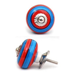 "Knobco - Ceramic Knob, Blue and Red - Blue and red circular-striped ceramic  knob, perfect for  your  kitchen   and bathroom cabinets! The  knob is 1.8"" in diameter and includes  screws  for installation."