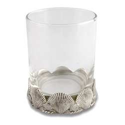 Clam Shell Double Old Fashioned Glass - Traditional motifs of splendor are realistically rendered in the Clam Shell Double Old Fashioned Glass, creating a look that suits the seaside as well as it does the glittering inland townhouse.  The shape of the shells provides two layers of scalloping � the fluting of the shells, and the placement of their upper curves around the glass bottom � for an elegant repetition of form.