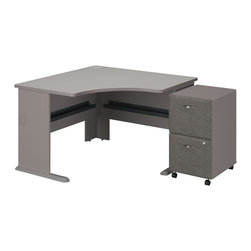 "Bush - Bush Series A 48"" Corner Desk with 2-Drawer File Cabinet in Pewter - Bush - Office Sets - SMA006PESU - Roll up your sleeves and create custom workspace. Bush Series A Pewter Finish 48"" Corner Desk with 2-Drawer File match and fit beautifully with other pieces from the Series A collection. Four-foot by four-foot width is compact yet offers plenty of space to spread out. Two wire management ports keep unsightly cords and cables hidden. Under desk shelf provides a place for small items. Versatile, 2-Drawer File puts the benefits of mobile storage where you need it most. Goes to work immediately under all Series A desks. File/file configuration lets you store letter, legal or A4 size files. One lock secures both file drawers for security. Full-extension ball bearing slides allow easy, convenient access to back of drawers. Stylish, elliptical drawer pulls add panache. 10-year warranty."