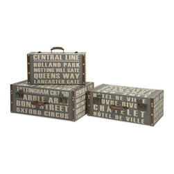 Imax - iMax Central Line Suitcases - Set of 3 X-3-07086 - The set of three Central Line suitcases feature bold typography reminiscent of street signage in a steel blue shade.