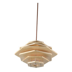 Wood Piece Stack Shade Home Pendant Lighting - Brighten up your interior decor with our handcrafted wooden hanging lamp. This eye-catching pendant light has a unique UFO shaped shade made from natural Manchurian ash, adding a touch of elegant and stylish to your home decor. Perfect for suspending over dinning tables or kitchen bars.