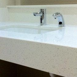 Various Quartz Countertops - LG Viatera Quartz vanity top with a custom mitered edge detail and undermount sink