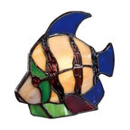 Quoizel - Quoizel TFX1520T Tiffany 1 Light Angel Fish Table Lamp - Tiffany style art glass is used to create this charming table lamp. Makes a great gift, conversation piece, or night light.Features: