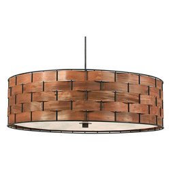"Kenroy Home - Asian Shaker 24"" Wide Basket Weave Pendant - Bring a touch of nature to your home with this pendant light. Featuring a shade made of a chunky basket weave with a rich wood grained glow this design is versatile and stylish. From the Shaker Collection by Kenroy Home. Chunky basket weave shade. Acrylic diffuser. Three maximum 100 watt or equivalent bulbs (not included). Includes one 6"" three 12"" downrods. 24"" wide. 7"" high.  Chunky basket weave shade.  Rich wood grained glow.   Real wood strips threaded through metal frame.  White acrylic diffuser.  Bronze finish canopy.   Three maximum 100 watt or equivalent bulbs (not included).  Includes one 6"" three 12"" downrods.  24"" wide.  7"" high.  Canopy is 5"" wide 3/4"" high.   6.6 lb. hang weight."