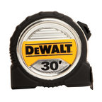 """Stanley Tools - Dwht33386 30 Ft. Tape Measure - Dewalt BRAND 1-1/4"""" WIDE TAPE RULE  Wide blade & large numbers make this tape -  easy to read  13 feet of blade standout for increased reach  Extra large end hook grabs from all 4 sides  Duo-Durometer blade-lock for durability/comfort  3M(R) Thermoplastic film helps to protect blade  Mylar(R) blade coating for long life  Great for framers, deck builders & contractors    DWHT33386 30 FT. TAPE MEASURE  SIZE:1-1/4"""" x 30 Ft.  COLOR:"""