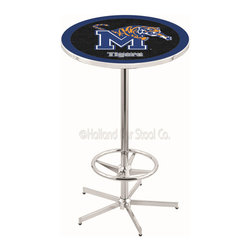 Holland Bar Stool - Holland Bar Stool L216 - 42 Inch Chrome Memphis Pub Table - L216 - 42 Inch Chrome Memphis Pub Table  belongs to College Collection by Holland Bar Stool Made for the ultimate sports fan, impress your buddies with this knockout from Holland Bar Stool. This L216 Memphis table with retro inspried base provides a quality piece to for your Man Cave. You can't find a higher quality logo table on the market. The plating grade steel used to build the frame ensures it will withstand the abuse of the rowdiest of friends for years to come. The structure is triple chrome plated to ensure a rich, sleek, long lasting finish. If you're finishing your bar or game room, do it right with a table from Holland Bar Stool.  Pub Table (1)
