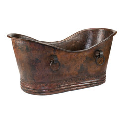 "Premier Copper Products - Premier Copper Products BTDR67DB 67"" Copper Double Slipper Bathtub - Rings - Uncompromising quality, beauty, and functionality make up this Premier 67"" Hammered Copper Double Slipper Tub With Rings."